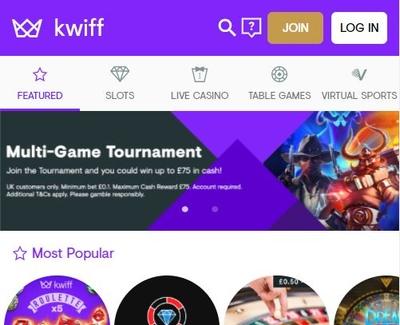 Kwiff Homepage